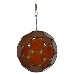 Moroccan Bohemian Amber Glass Lantern or Orb Pendant