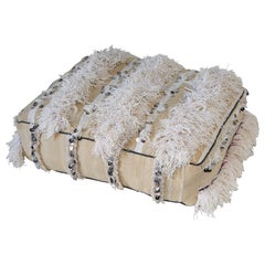 Moroccan Bohemian Floor Pillow White Pouf with Silver Sequins and Long Fringes
