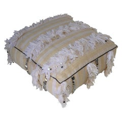 Moroccan Bohemian White Floor Pillow Pouf with Silver Sequins and Long Fringes