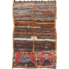 Moroccan Boucherouite Large Rag Rug with Abstract Design in Charcoal and Brown