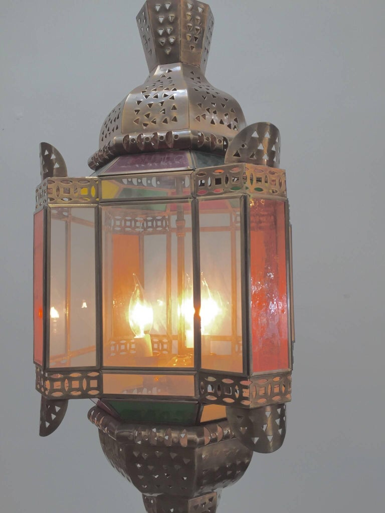 Moroccan Brass Light Fixture with Amber Colored Stained Glass For Sale 4