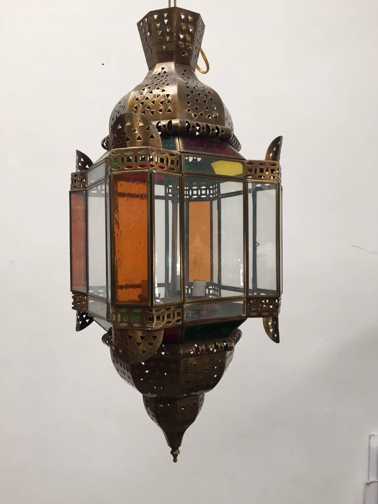 Moorish Moroccan Brass Light Fixture with Amber Colored Stained Glass For Sale