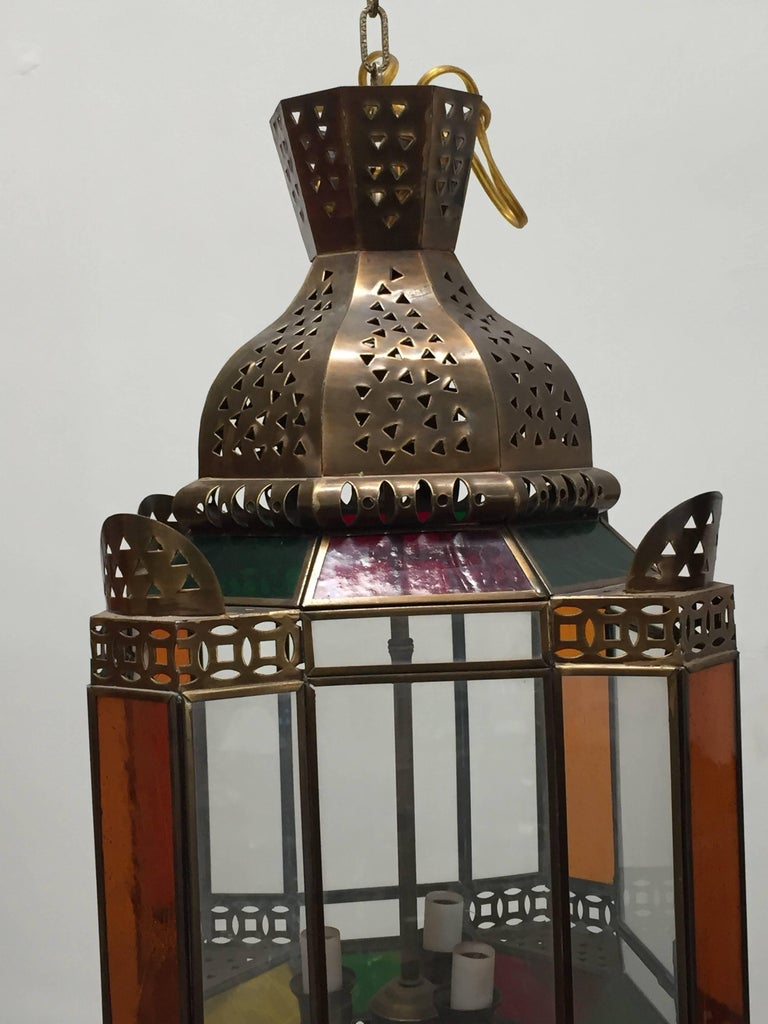 Hand-Crafted Moroccan Brass Light Fixture with Amber Colored Stained Glass For Sale
