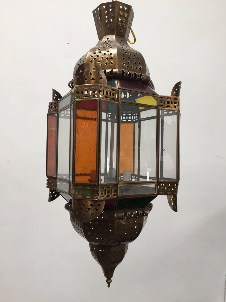 Moroccan Brass Light Fixture with Amber Colored Stained Glass In Excellent Condition For Sale In Los Angeles, CA