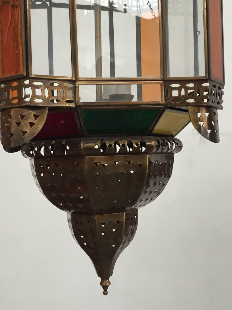20th Century Moroccan Brass Light Fixture with Amber Colored Stained Glass For Sale