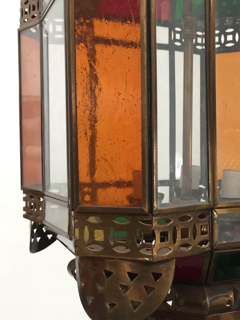 Moroccan Brass Light Fixture with Amber Colored Stained Glass For Sale 1