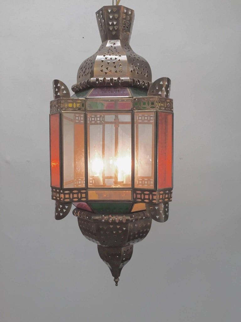 Moroccan Brass Light Fixture with Amber Colored Stained Glass For Sale 2