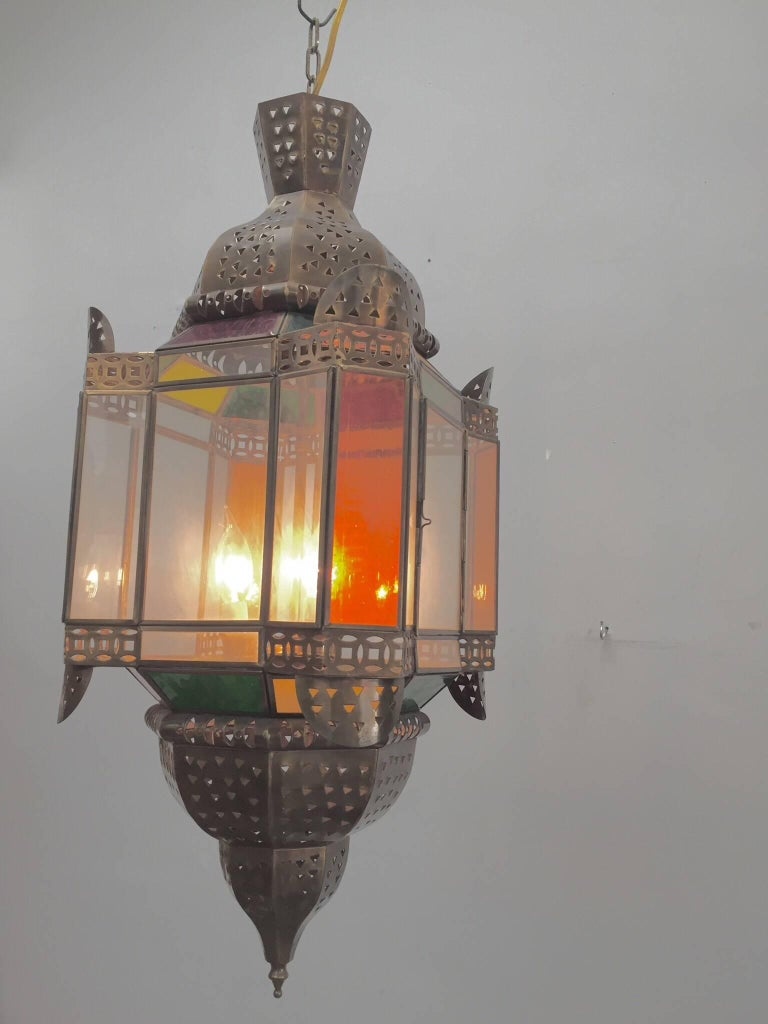 Moroccan Brass Light Fixture with Amber Colored Stained Glass For Sale 3