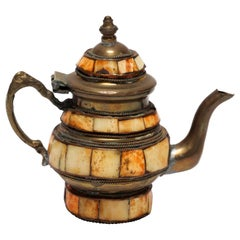 Moroccan Brass with Bone Overlay Decorative Tea Pot