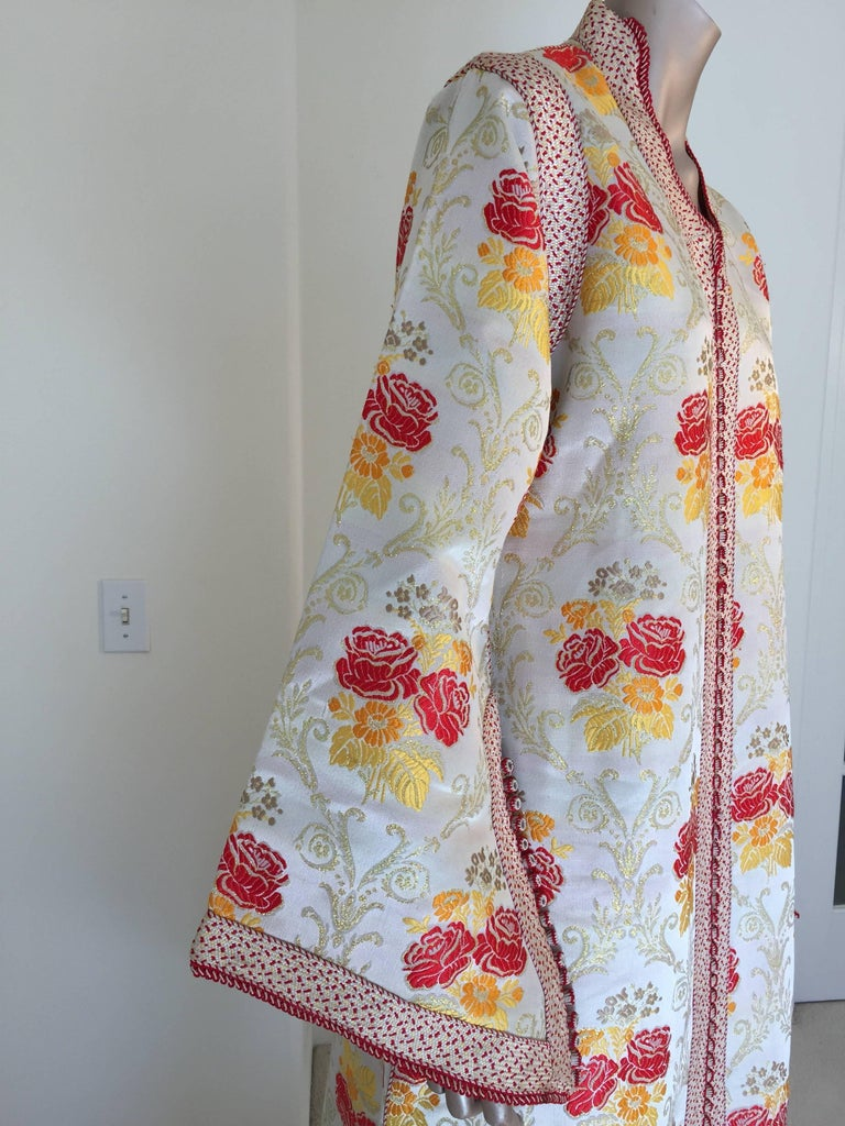 20th Century Moroccan Brocade Caftan Maxi Dress Kaftan Handmade in Morocco Africa For Sale