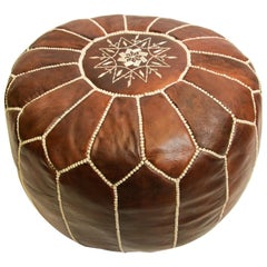 Moroccan Brown Leather Hand Tooled Pouf
