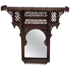 Moroccan Brown Wooden Wall Shelf With Mirror