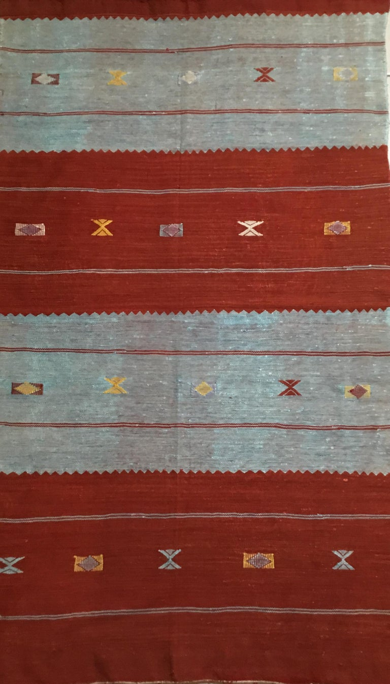 Moroccan Cactus Silk Flat Weave Kilim Rug For Sale At 1stdibs