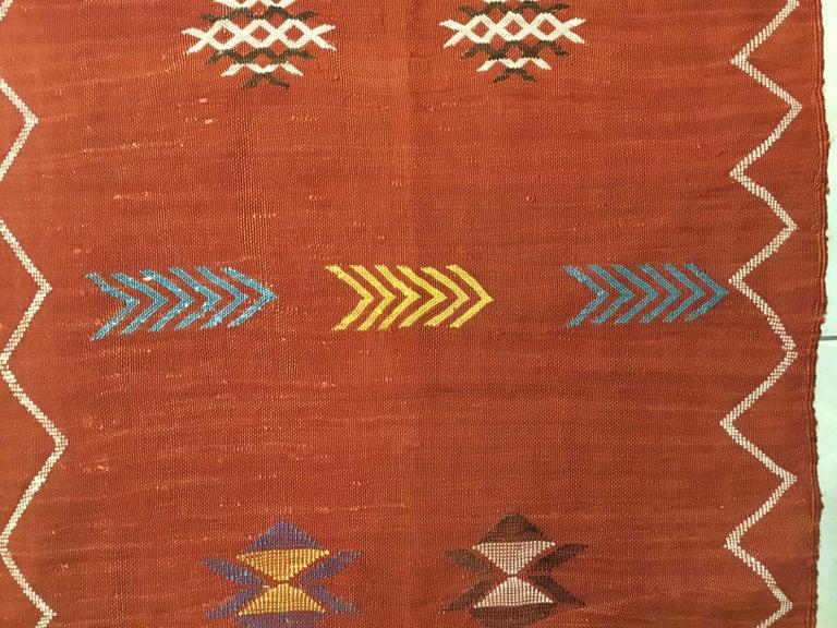 Moroccan Cactus Silk Flat-Weave Kilim Runner For Sale 6
