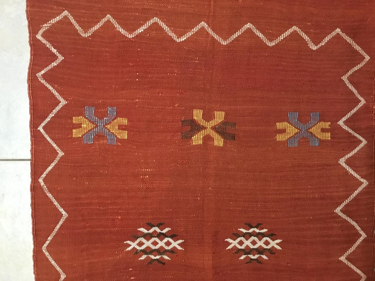 Moroccan Cactus Silk Flat-Weave Kilim Runner For Sale 7