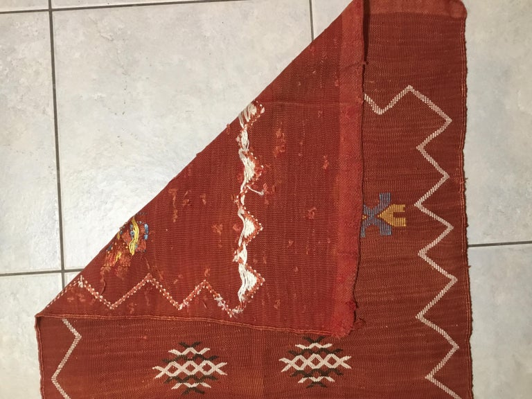 Moroccan Cactus Silk Flat-Weave Kilim Runner For Sale 8