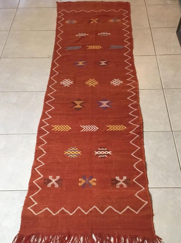 Moroccan Cactus Silk Flat-Weave Kilim Runner For Sale 9