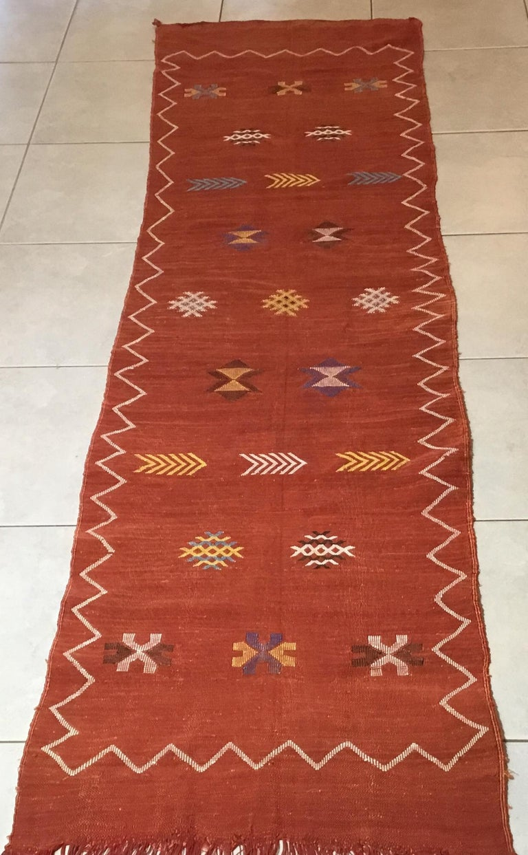 Hand-Woven Moroccan Cactus Silk Flat-Weave Kilim Runner For Sale