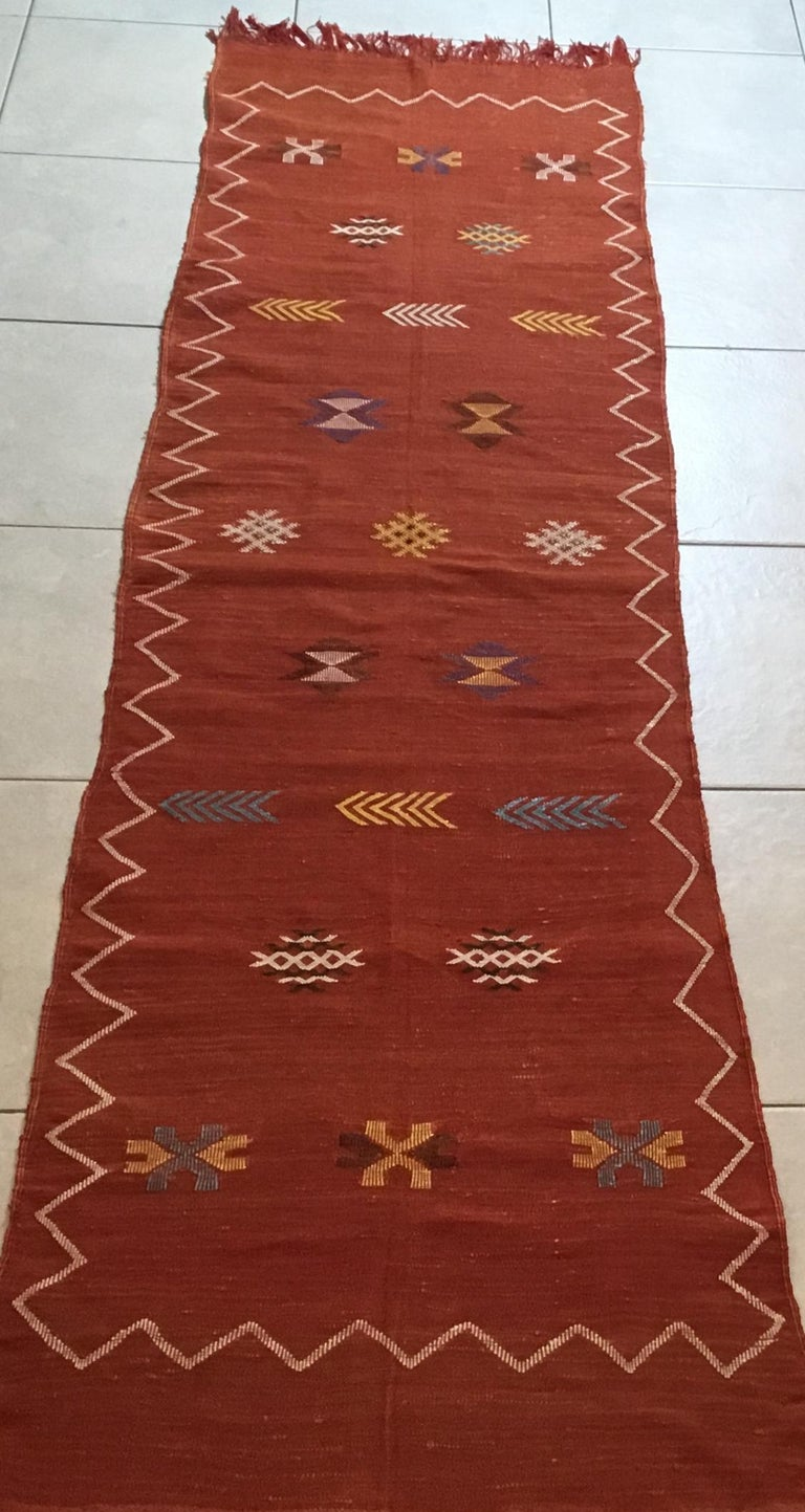 Contemporary Moroccan Cactus Silk Flat-Weave Kilim Runner For Sale