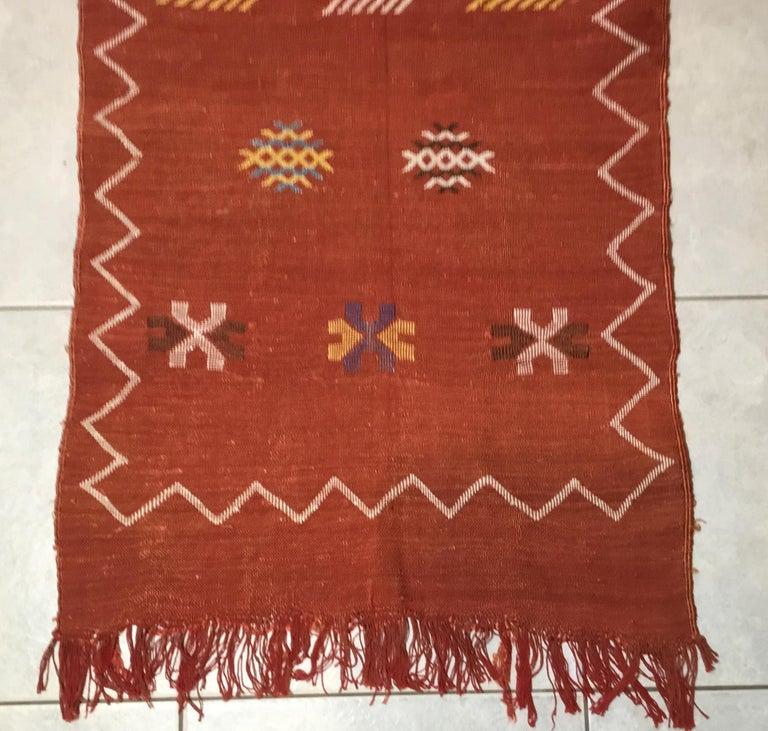 Moroccan Cactus Silk Flat-Weave Kilim Runner For Sale 1