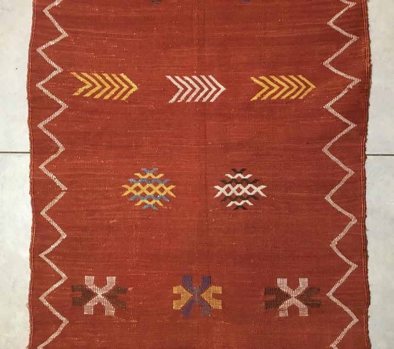 Moroccan Cactus Silk Flat-Weave Kilim Runner For Sale 2