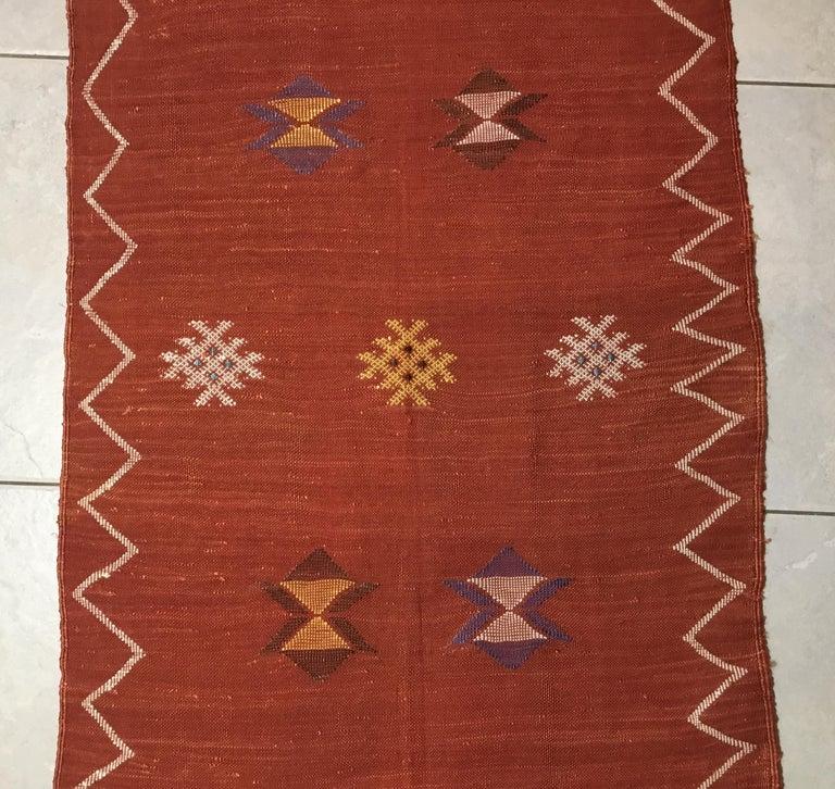 Moroccan Cactus Silk Flat-Weave Kilim Runner For Sale 3