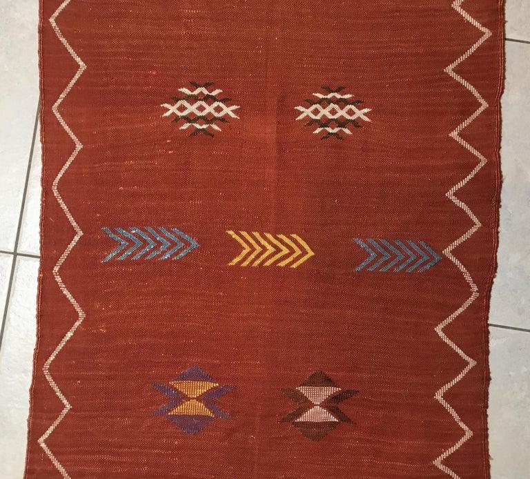 Moroccan Cactus Silk Flat-Weave Kilim Runner For Sale 4