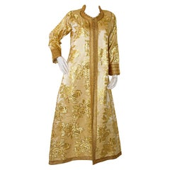 Moroccan Caftan Gold Damask Embroidered, Vintage, 1960s