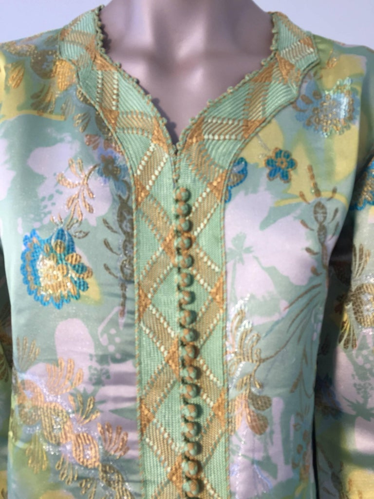 20th Century Moroccan Caftan Green and Gold Metallic Floral Brocade Maxi Dress Kaftan