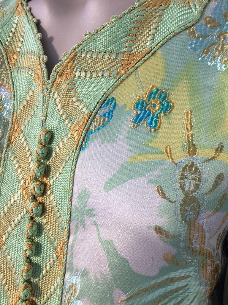 Moroccan Caftan Green and Gold Metallic Floral Brocade Maxi Dress Kaftan 1
