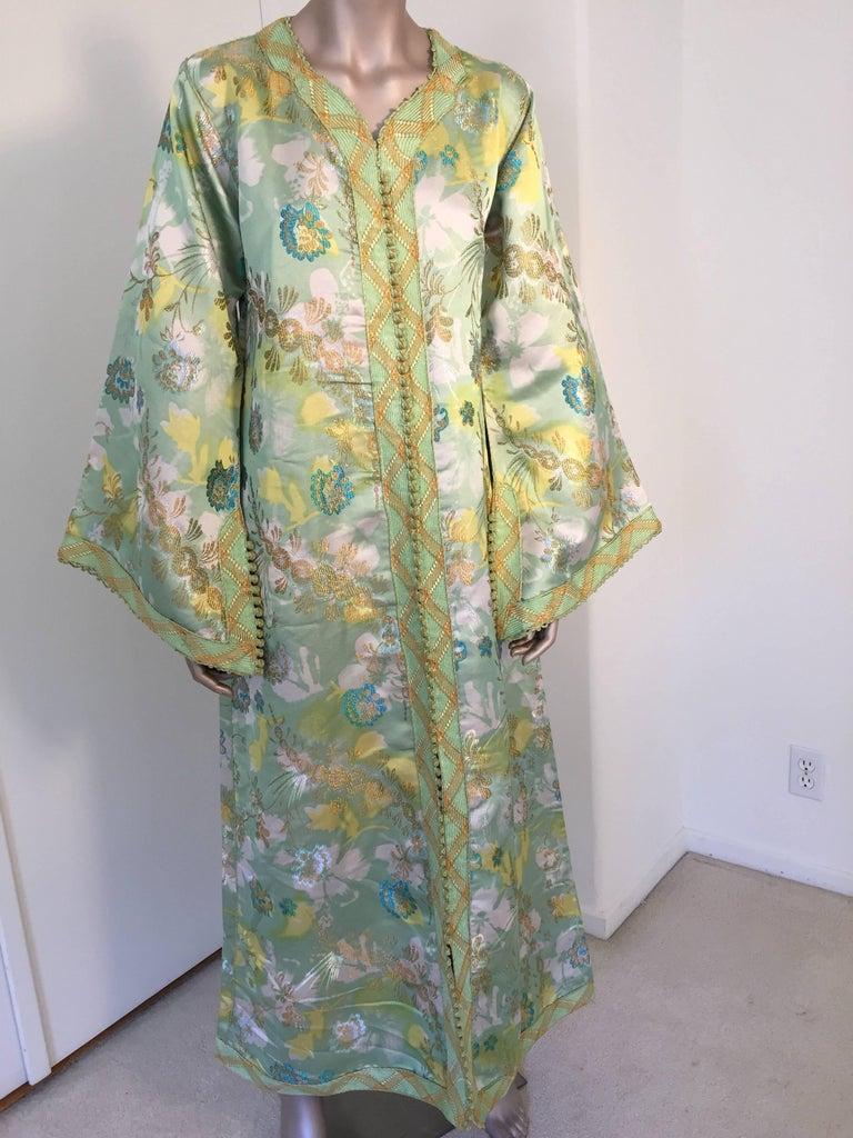 Moroccan Caftan Green and Gold Metallic Floral Brocade Maxi Dress Kaftan 2