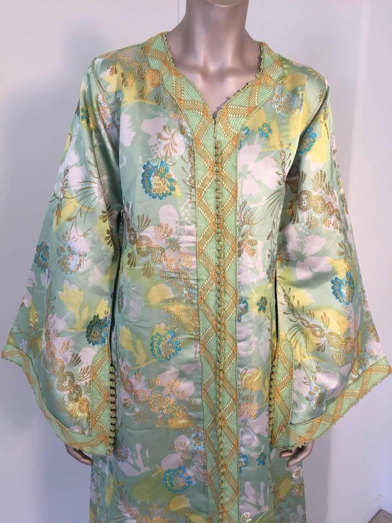 Moroccan Caftan Green and Gold Metallic Floral Brocade Maxi Dress Kaftan 3