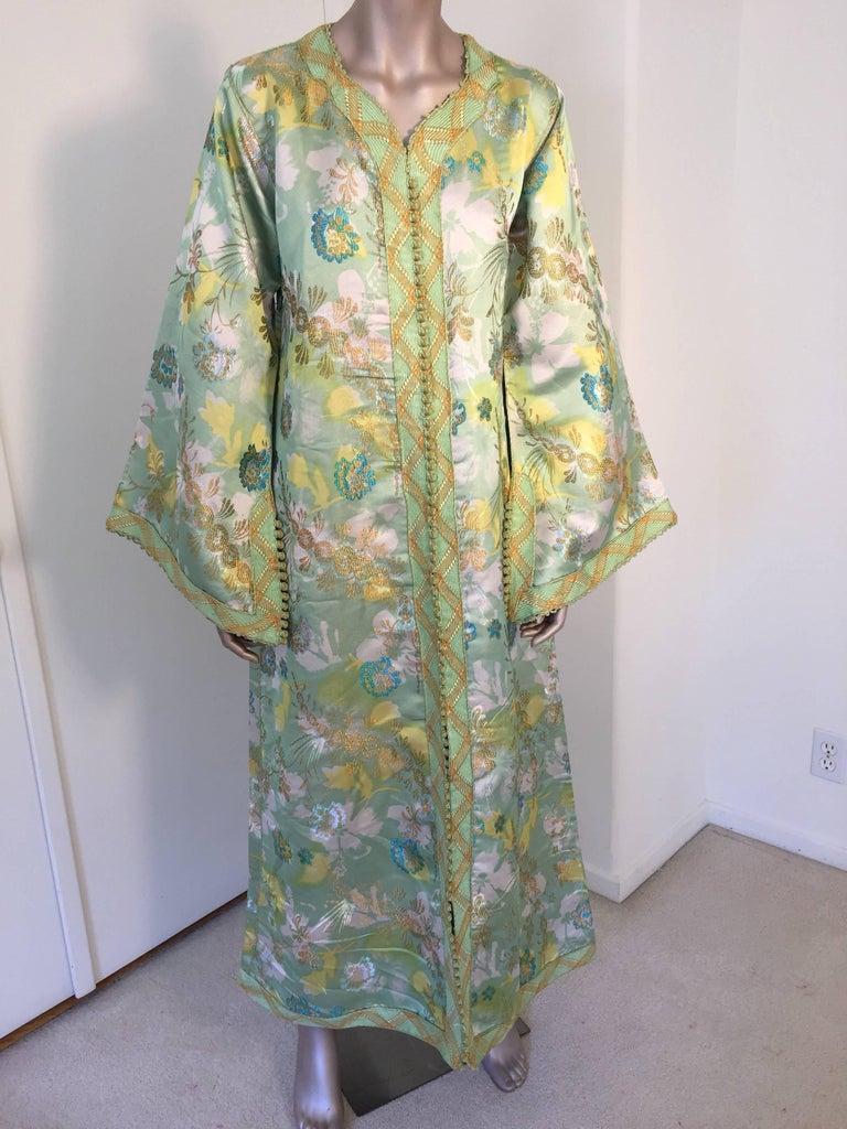 Moroccan Caftan Green and Gold Metallic Floral Brocade Maxi Dress Kaftan 4
