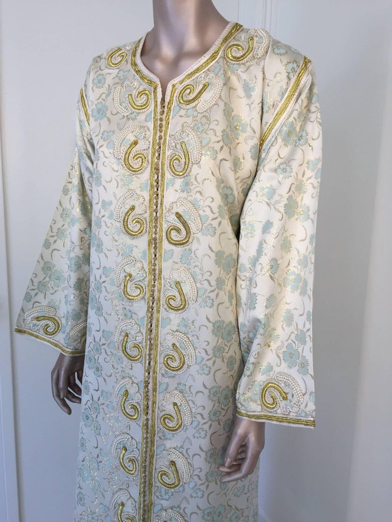 Bohemian Moroccan Caftan, White Floral Brocade Kaftan Embroidered with Gold Threads For Sale