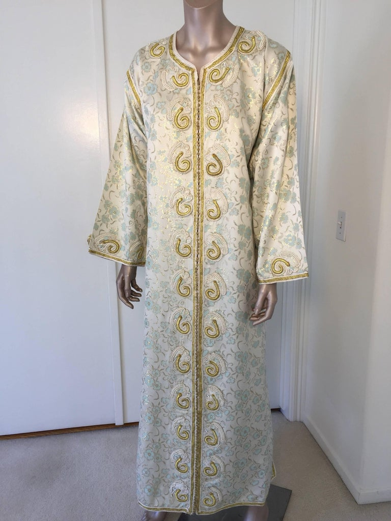 Hand-Crafted Moroccan Caftan, White Floral Brocade Kaftan Embroidered with Gold Threads For Sale