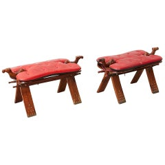 Moroccan Camel Saddle Stools with Tufted Leather Cushions