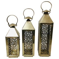 Moroccan Candle Lantern, Holder, White Brass in Arabesque Design, Set of Three