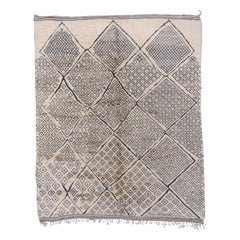 Moroccan Carpet with All-Over Diamond Design Gray & Cream Tones, Neutral Palette