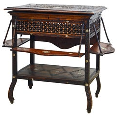 Moroccan Carved and Mother of Pearl Lift Top Inlaid Table w/ Suspended Shelves