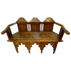 Moroccan Carved Bench Settee with Mother of Pearl Inlay