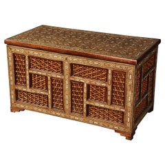 Moroccan Carved Inlaid Bone 1850s Era Trunk Chest Coffee Table