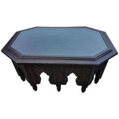 Moroccan Carved Wood Coffee Table, Long Hectagonal Shape