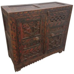 Moroccan Carved Wooden Cabinet, Berber Style