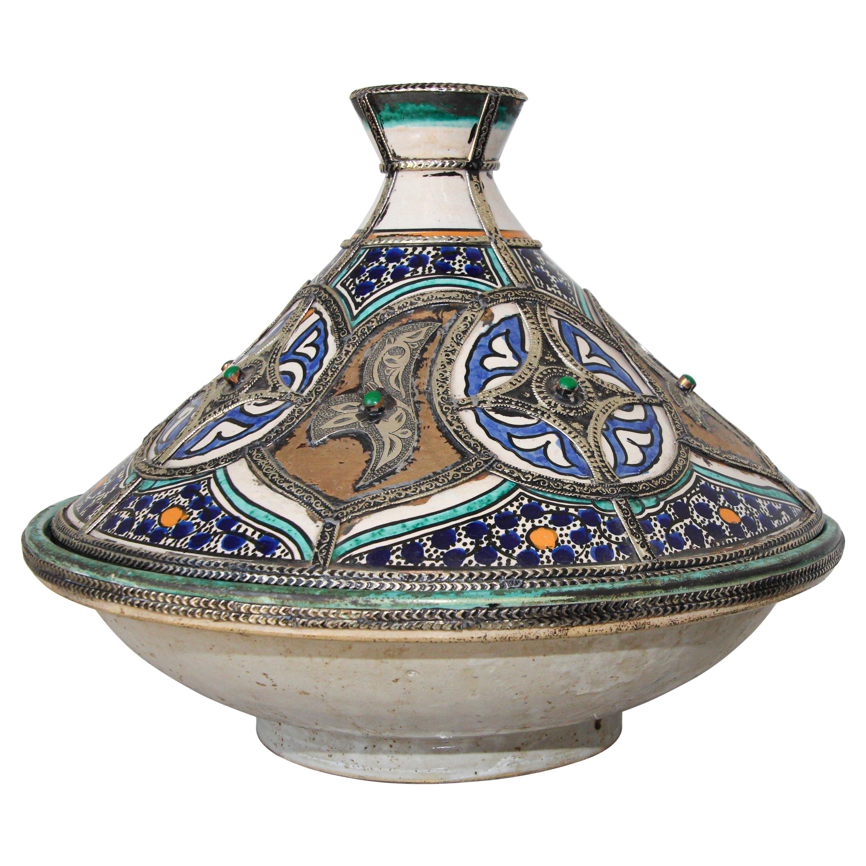 Moroccan Ceramic Bowl with Lid Tajine from Fez Polychrome