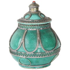 Moroccan Ceramic Covered Urn with Silver Filigree