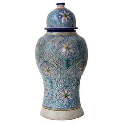 Moroccan Ceramic Lidded Urn from Fez