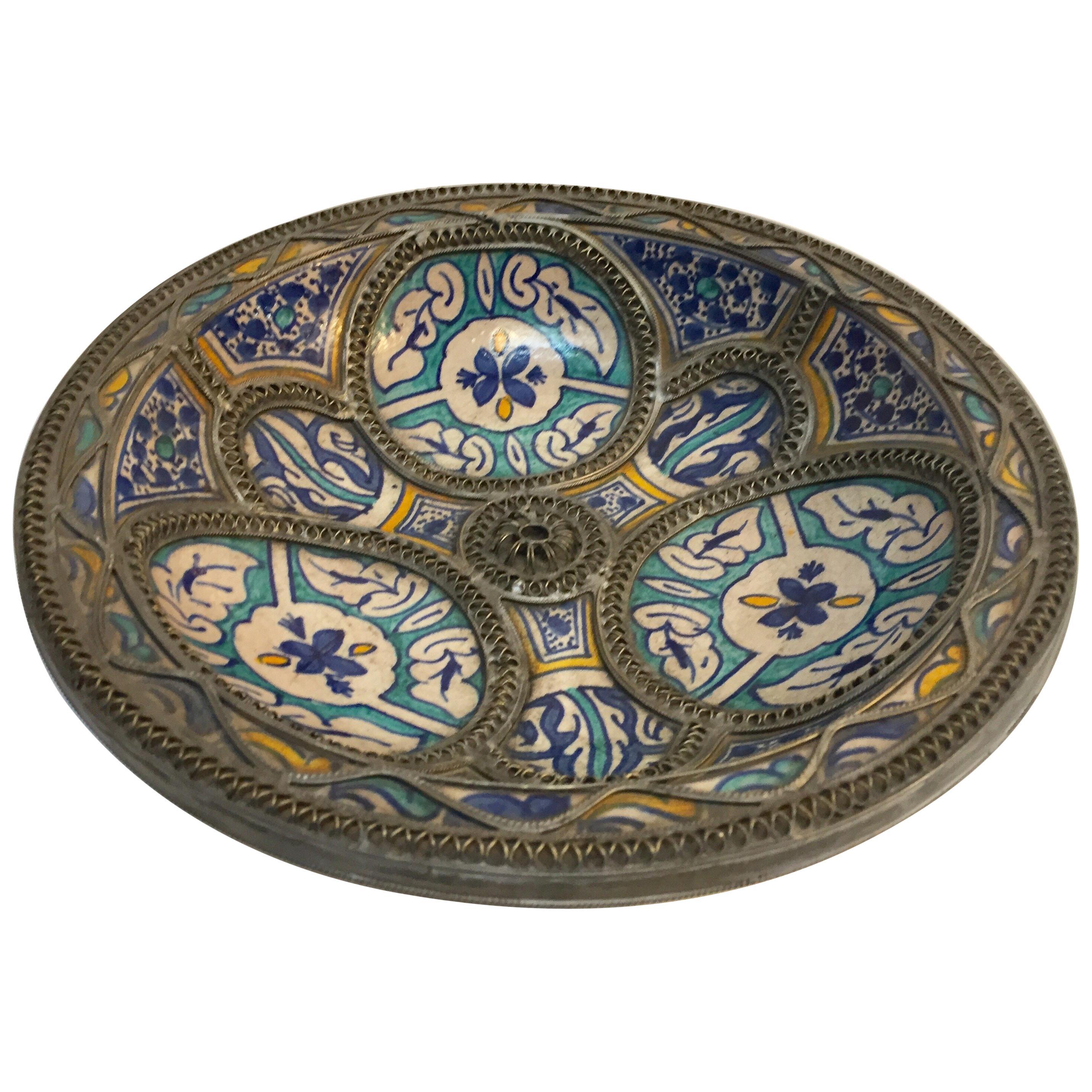 Moorish Ceramic Plate Adorned with Silver Filigree from Fez