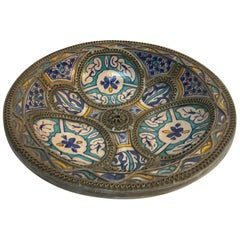 Moorish Ceramic Plate Adorned with Silver Filigree from Fez