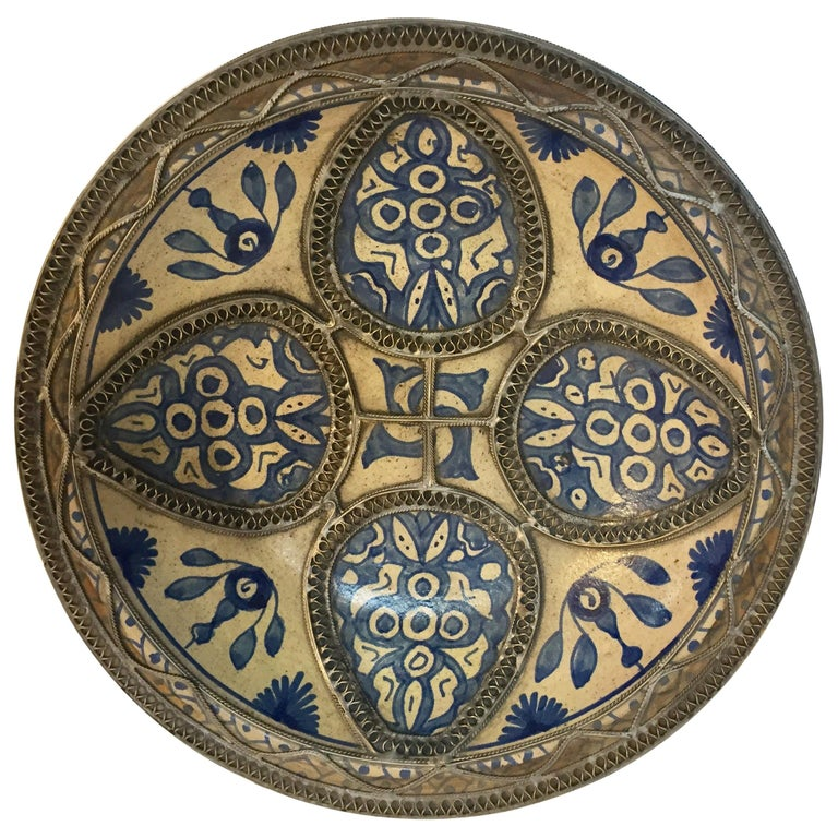Moroccan Ceramic Plate Adorned with Silver Filigree from Fez For Sale 43c6c7c95b4