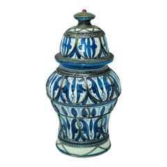 Moroccan Ceramic Vase from Fez Blue and White with Silver Filigree